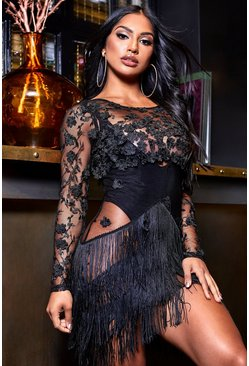 Womens Black Sheer Bodycon Embellished Mini Dress