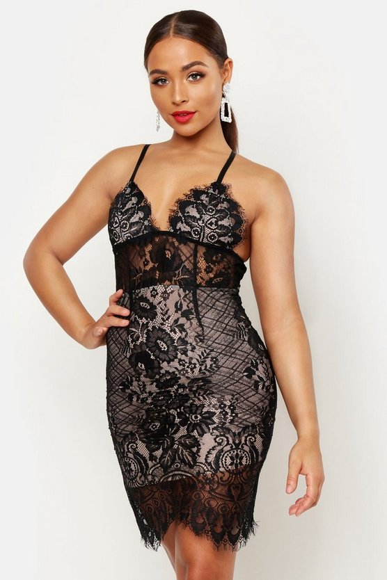 Black Lace Bodice Bodycon Mini Dress