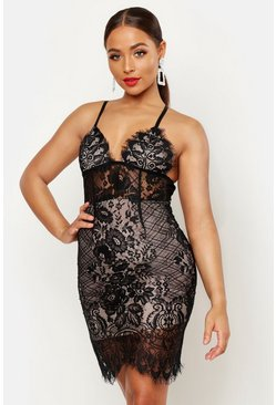 Womens Black Lace Bodice Bodycon Mini Dress