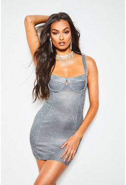 Womens Silver Metallic Cup Detail Bodycon Dress