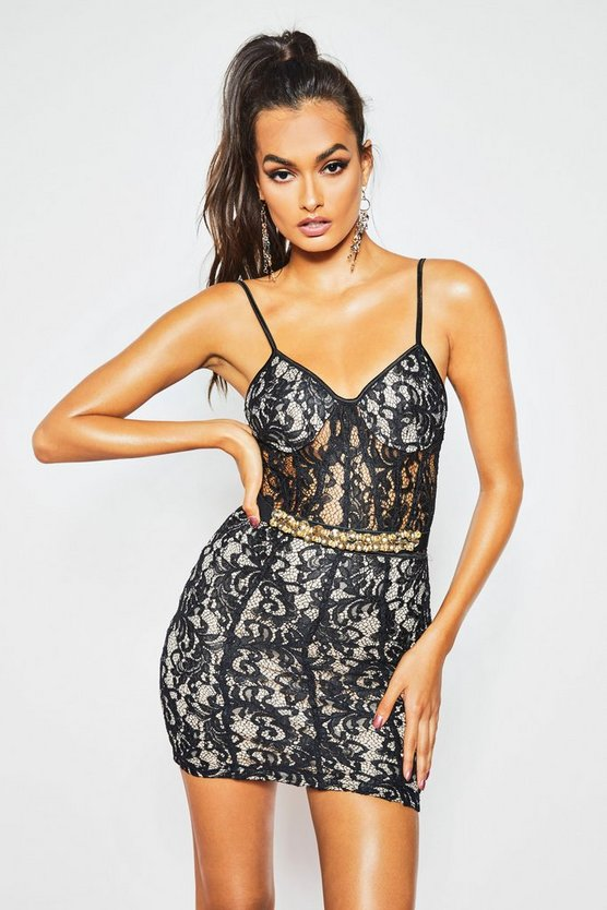 Womens Black All Over Lace Bodycon Mini Dress