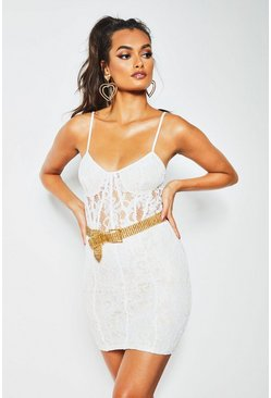 Womens White All Over Lace Bodycon Mini Dress