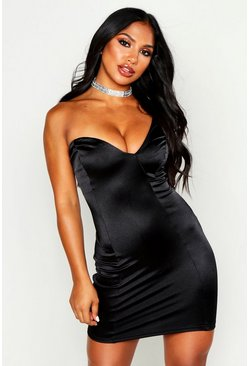 Womens Black One Shoulder Structured Mini Dress