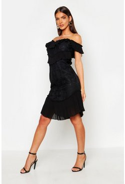 Womens Black All Over Ruffle Midi Dress