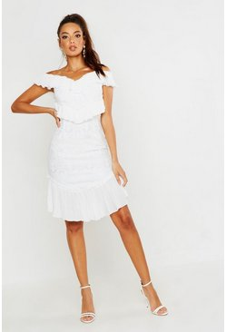 Womens White All Over Ruffle Midi Dress