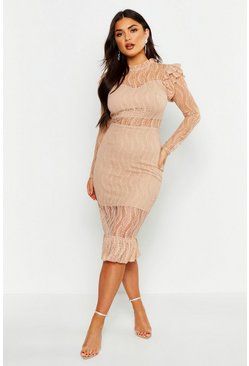 Womens Nude Long Sleeve All Over Lace Midi Dress