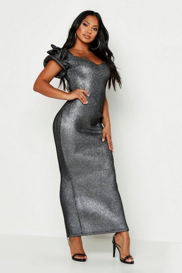 Womens Black High Shimmer Plunge Midaxi Dress