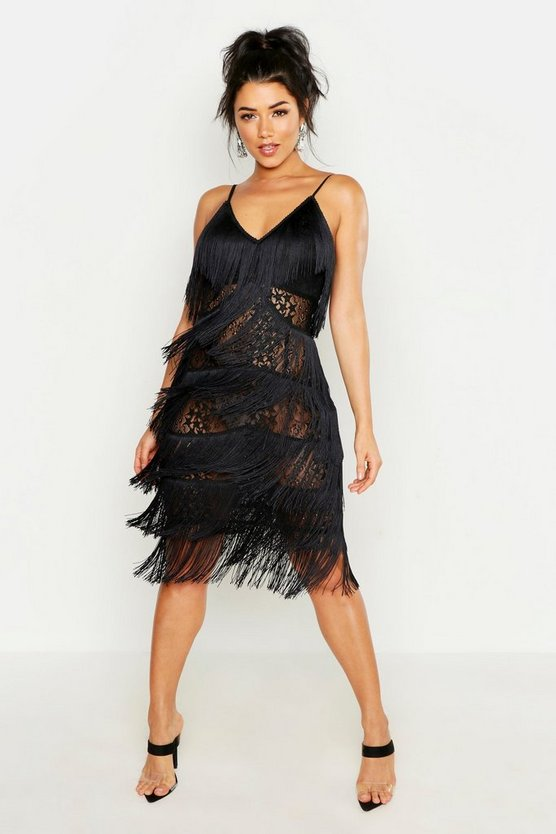 Womens Black All Over Tassle Sheer Lace Midi Dress
