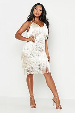 All Over Tassle Sheer Lace Midi Dress