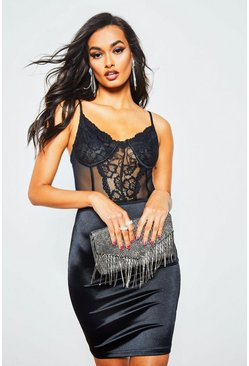 Womens Black Lace Cup Bodice Midi Dress