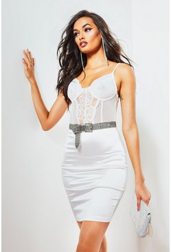 Womens White Lace Cup Bodice Midi Dress