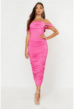 Neon-pink All Over Mesh Bodice Detail Midi Dress