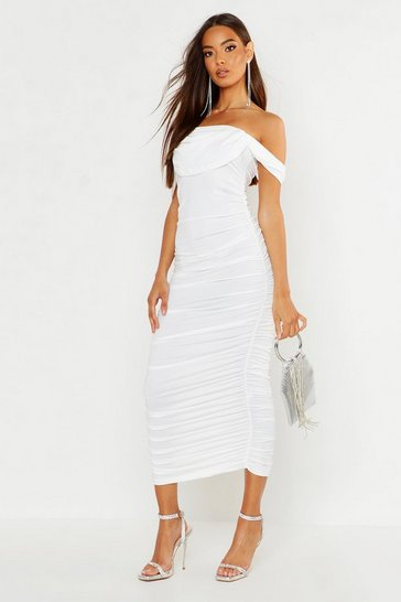 Womens White All Over Mesh Bodice Detail Midi Dress