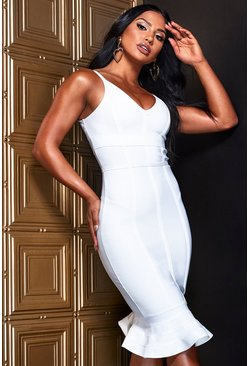Womens White Bandage Frill Hem Midi Dress