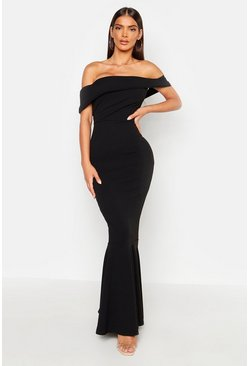 Womens Black Bardot Sleeve Detail Maxi Dress
