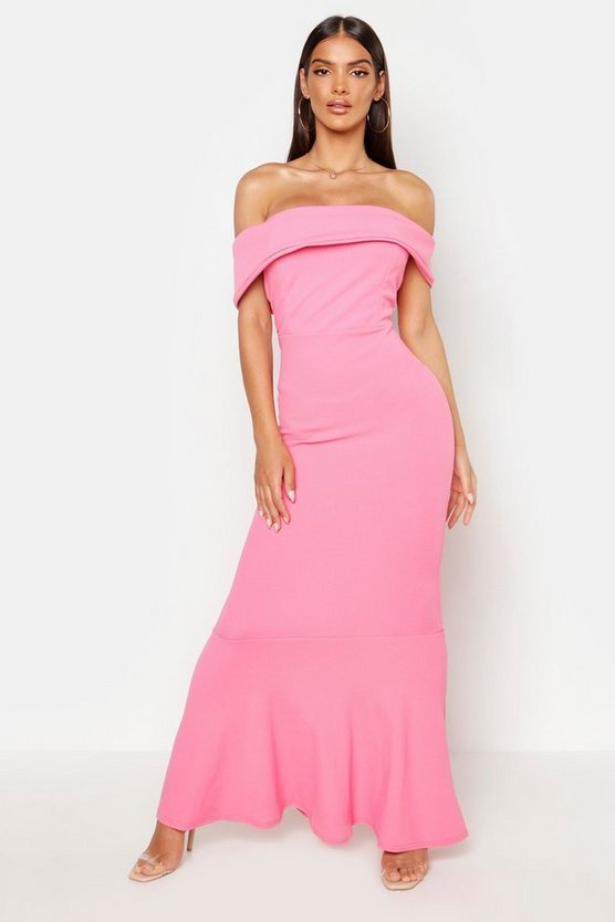 Pink Bardot Sleeve Detail Maxi Dress