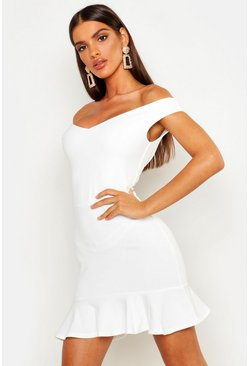 Ivory Bardot V Neck Frill Hem Mini Dress