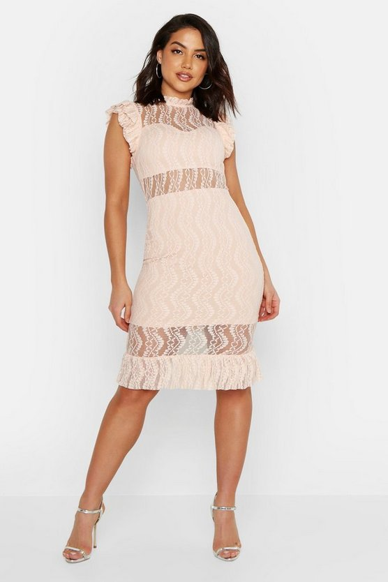 Womens Nude All Over Lace Short Sleeve Midi Dress