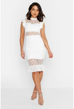 Womens White All Over Lace Short Sleeve Midi Dress