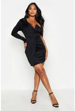 One-Shoulder Blazer Bodycon-Kleid, Schwarz
