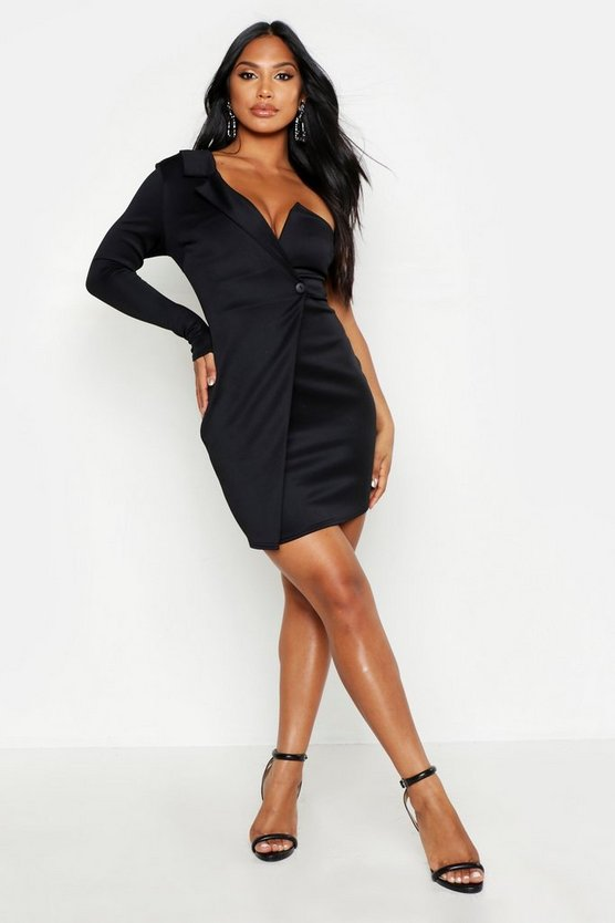 Womens Black One Shoulder Blazer Bodycon Dress