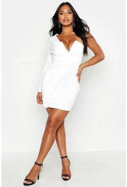 White One Shoulder Blazer Bodycon Dress
