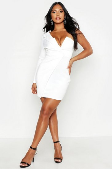 Womens White One Shoulder Blazer Bodycon Dress