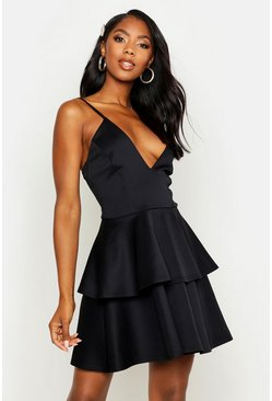 Womens Black Plunge Tiered Skater Dress