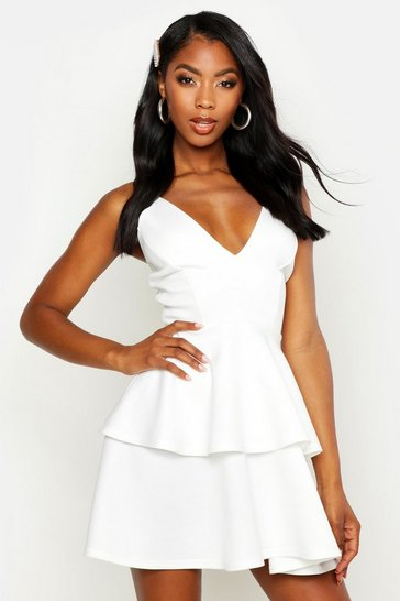 Womens White Plunge Tiered Skater Dress