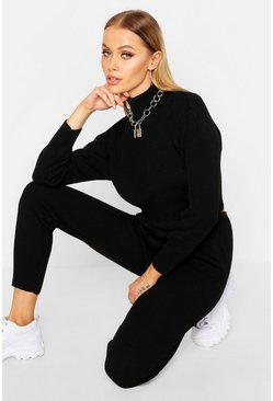 Womens Black Knitted Crop Lounge Set