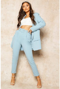 Blue Self Belt Tailored Trouser