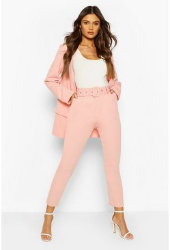 Blush Self Belt Dress Pants