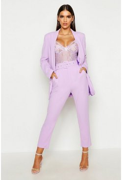 Lilac Self Belt Tailored Pants
