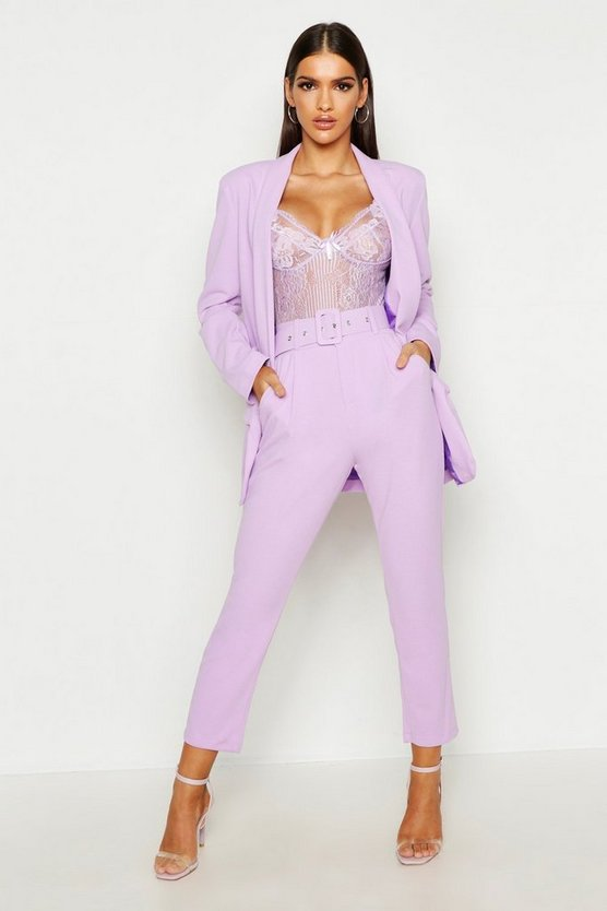 Womens Lilac Self Belt Tailored Trouser