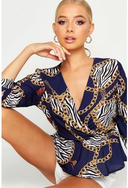 Navy Animal Print Chain Print Peplum Blouse