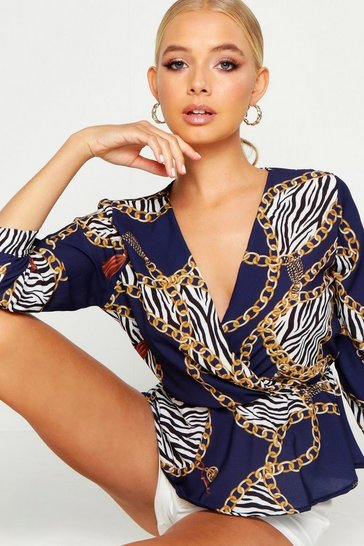 Womens Navy Animal Print Chain Print Peplum Blouse