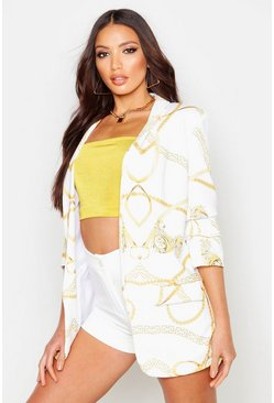 Womens White Chain Print Ruched Sleeve Blazer