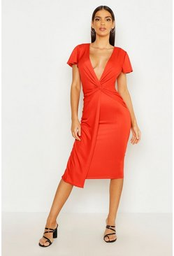 Womens Rust Twist Front Midi Dress