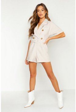 Beige Double Breasted Belted Playsuit