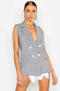 Linen Look Pinstripe Sleeveless Blazer