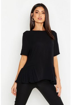 Womens Black Pleated Hem Short Sleeve Blouse