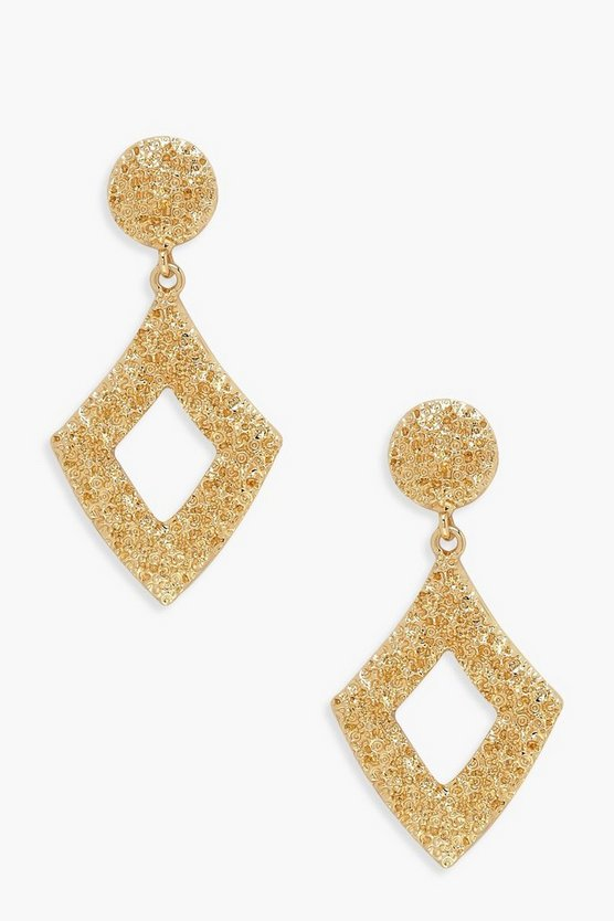 Womens Gold Diamond Hammered Statement Earrings