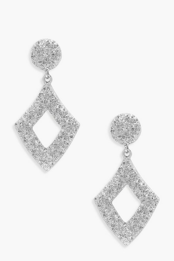 Womens Silver Diamond Hammered Statement Earrings