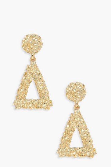 Womens Gold Triangle Textured Statement Earrings