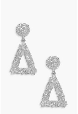 Womens Silver Triangle Textured Statement Earrings