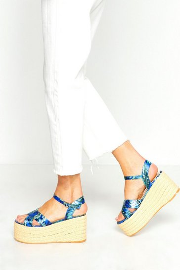 Womens Blue Tropical Print Woven Flatforms
