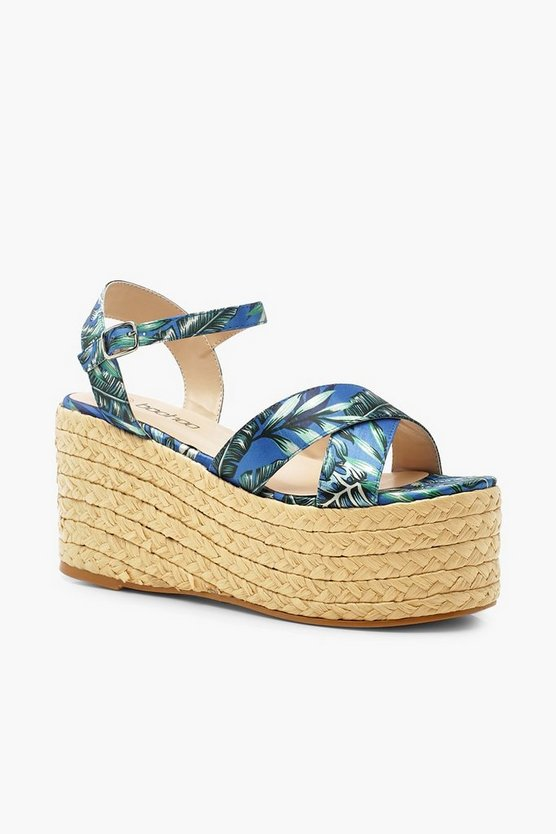 Tropical Print Woven Flatforms