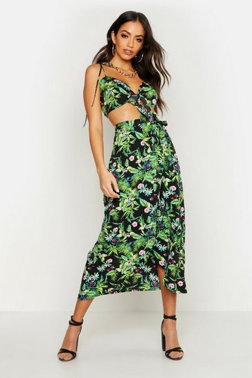 Womens Black Palm Print Tie Detail Bralet & Wrap Skirt Co-Ord