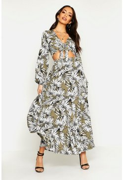 Khaki Tonal Palm Print Tie Front Top & Maxi Skirt Co-Ord