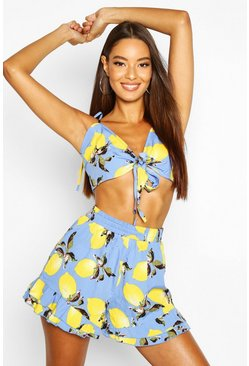 Womens Blue Tie Front Top And Ruffle Short Co-Ord